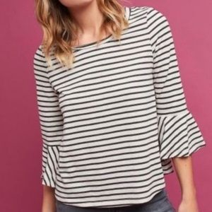 Anthropologie Deletta Stripe Top with Flare Sleeve